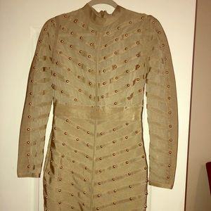 Dresses & Skirts - Gold beaded bandage dress